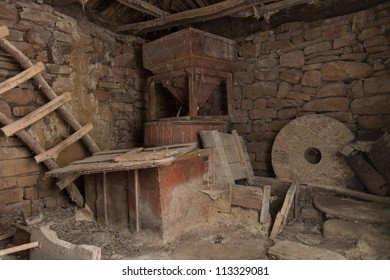 Old mill interior - abandoned ruins