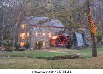 old mill at night in the fall