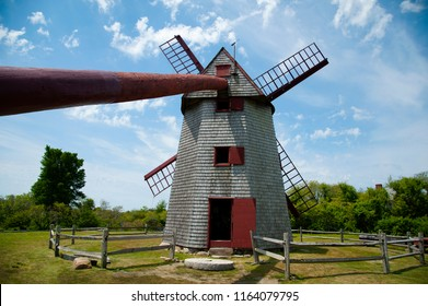 The Old Mill is the oldest functioning wooden windmill in the United States used to grind corn. It is located on Nantucket Island in Massachusetts.