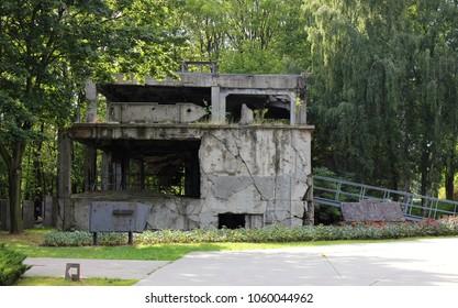Old millitary barrack destroyed during Worl War II in Westerplatte in Gdansk, Poland