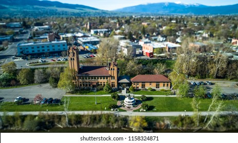 The Old Milwaukee Depot in Missoula, Montana along the Clark Fork River.