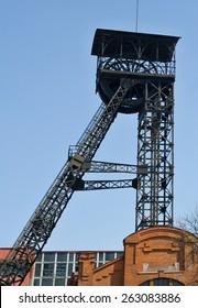 An old mine head frame in Ostrava, Czech republic