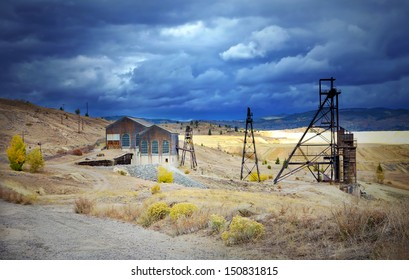An old mine headframe in Butte (with dramatic sky), Montana, United States
