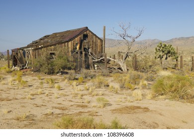 Old mining building along Morning star mining road in Mojave Desert of Southern California
