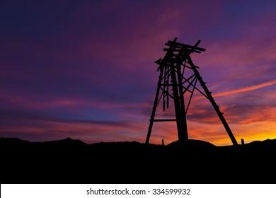 Old Mining Head frame at sunrise