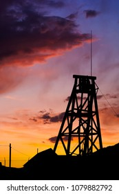 Old mining head frame at sunset in Tonopah Nevada