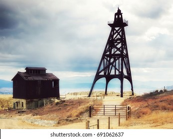 old mining headframes in a huge copper mine, Butte, Montana, United States