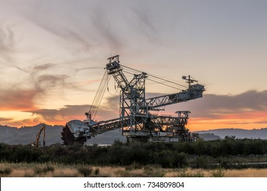 Old mining machinery in a coal mine in the North-West of Spain.
