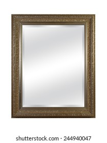 old mirror with vintage frame isolated on white background