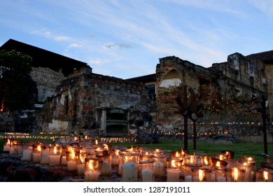 Old Mission in Antigua, Guatemala illuminated by candlelight