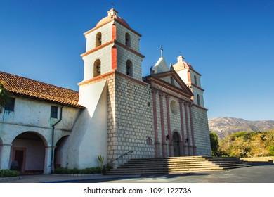 Old mission cathedral view in Santa Barbara, California