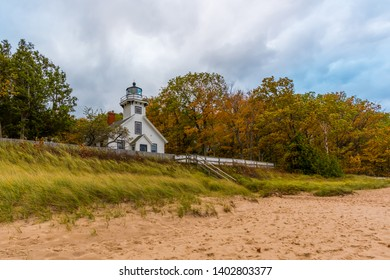 Old Mission Point Lighthouse on an autumn day. Traverse City, Michigan, USA.