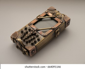 Old mobile phone in steampunk style