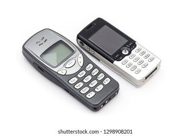 Old mobile phones (2000s) on the white background.