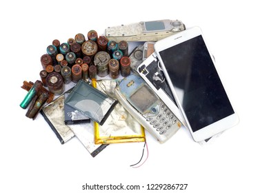 Old mobile phones and battery / Electronic waste concept