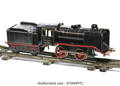 old model railway isolated on white background