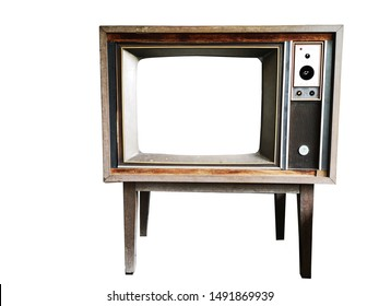 Old model TVs, wooden cabinets on a white background.