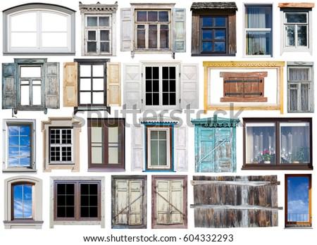 Old Modern Windows Wooden Plastic Frames Stock Photo (Edit Now ...