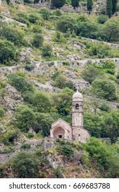 Old monaster among fortifications of Kotor