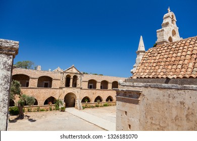 Сourtyard of the old monastery. Arkadi monastery - Crete, Greece.
