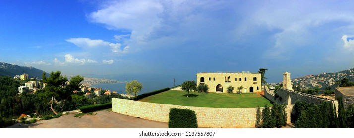 old monastery being restaured with a panorama on Jounieh Bay and the mediterranee in Lebanon
