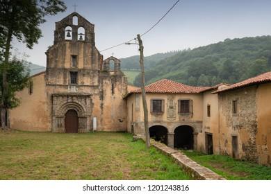 Old monastery de Santa Maria la Real in Obona, landmark on the Camino de Santiago trail between Tineo and Pola de Allande, Asturias, Spain