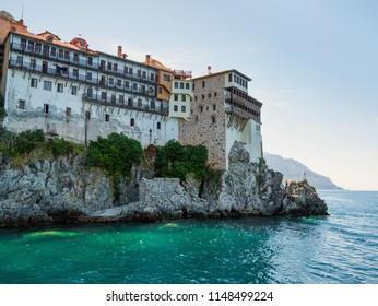Old Monastery on rock of Mount Athos