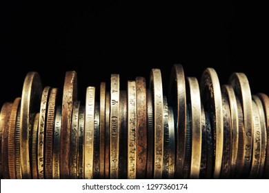 Old moneys and coins. Numismatics and collecting money.Russian Empire and world currency.Silver,gold.Dark background