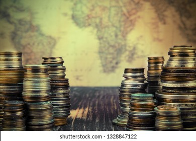 Old moneys and coins. Numismatics and collecting money.Russian Empire and world currency.Silver,gold.Searching for treasure concept.Vintage and retro style.