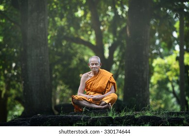 Old monk sitting meditation under the big tree