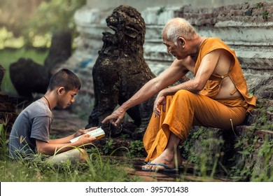 Old monk teaches boy