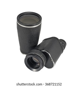 Old monocular with additional lens isolated on white background