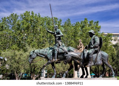 old monument Don Quixote and Sancho Panza in madrid, spain