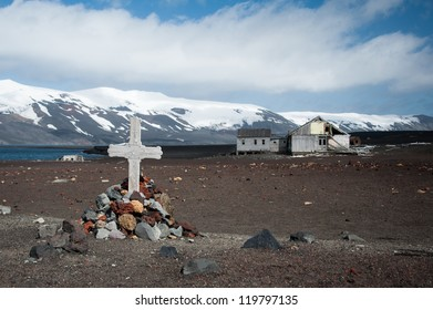 Old monument on the Deception island, Antarctica