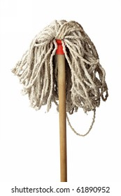 Old Mop Isolated on White Background