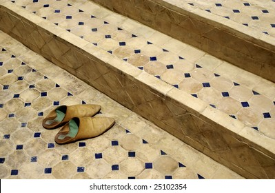 Old Moroccan (baboosh) shoes outside a mosque