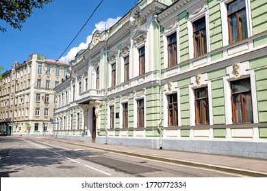 old moscow city historical architecture landmark against blue sky background. Podsosenskiy street view of Morozov historic mansion house. Classic building in Moscow russia downtown