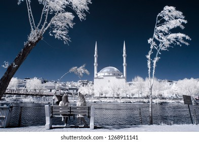 old mosque cami camii minaret infrared photo church with snowy trees two woman river religion religious turkey