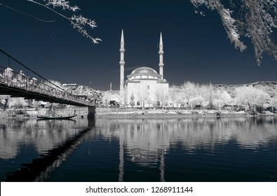 old mosque cami camii minaret infrared photo church with snowy trees river religion religious