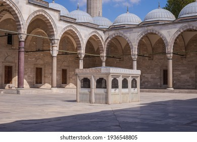 Old Mosques with minarets in Istanbul. Details of architecture and interior, arches and columns.