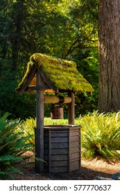 An old, moss-covered wishing well at a lodge in Washington's Olympic National Forest