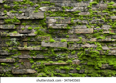 Old mossy brick wall texture - Shutterstock ID 347643365