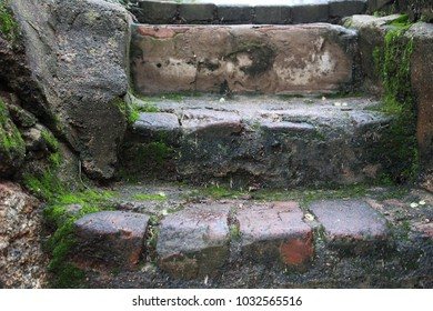 Old mossy stone stairs