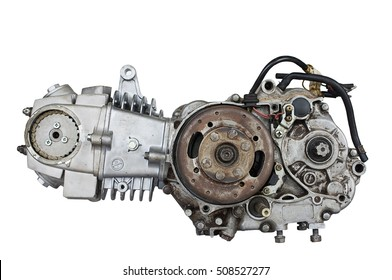 Old motor engine and gear of motorcycles with hard light on white background, repair and maintenance old parts of engine