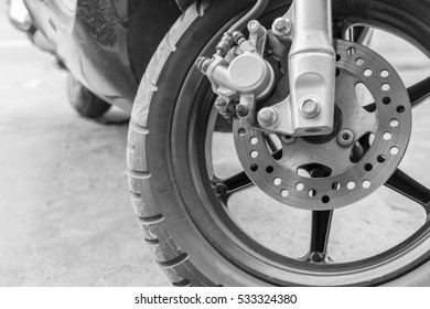 old motorcycle disk break in black and white tone