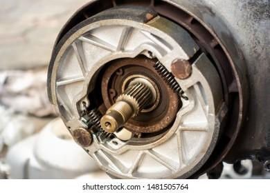 Old motorcycle drum brake pad in opened engine box