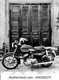 The old motorcycle Thailand ,black and white