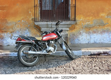 Old motorcyle in Colonial Antigua, Guatemala