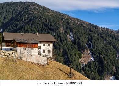 Old mountain farmhouse in the dolomites, alps, south tyrol, italy