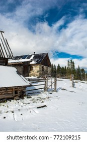 Old Mountain Hut in Snow in Winter